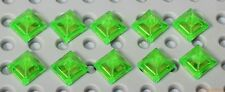 Lego 10x Transparent Bright Green Slope 45° 1x1x2/3 (22388) NEW!!!
