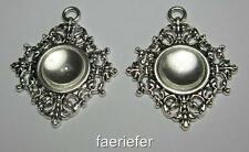 2 silver setting tray pendant frames blanks 14mm round with matching glass domes