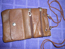 Leather Neck Pouch Passport ID Card Holder Adjustable. New/BROWN  FREE SHIPPING