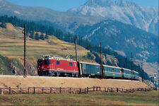 543019 Swiss Local Passenger Train Leaving Celerina A4 Photo Print