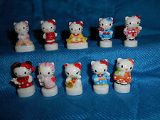 HELLO KITTY JAPAN Set 10 Mini Figurines French Porcelain FEVES SANRIO Figures