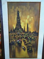 VINTAGE 1967 ANEK SUNANONT, PAINTER, ASIAN, THAILAND (?), BOATS FLOATING TO CITY
