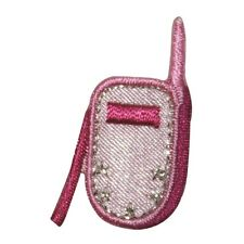 ID 8440 Small Pink Cellphone Phone Fashion Iron On Embroidered Patch Applique