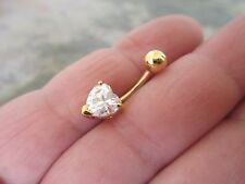 Heart Gold Titanium Plated Belly Button Navel Ring Body Jewelry Clear Gem