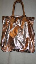 J.CREW METALLIC ROSE GOLD PURSE WITH ATTACHED COIN PURSE TOTE HANDBAG LEATHER