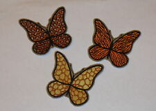 """Set of 3 """"Animal Print Butterflies"""" Iron-On Embroidered Patches- Tiger, Leopard"""