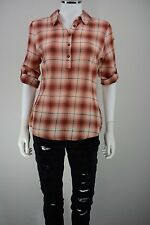 Royal Robbins Womens Small Red Oasis Plaid 3/4 Sleeve Pullover Cotton Shirt New