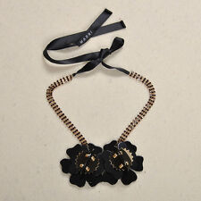 MARNI BEAUTIFUL DUAL BLACK GOLD FLOWER HORN NECKLACE – NEW
