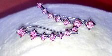 PINK Crystal Ear Hooks 14k White Gold Vine Rhinestone Earrings Climber Crawl