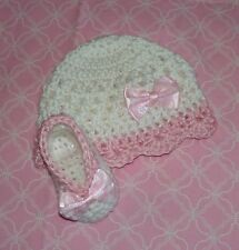 Handmade Crochet Baby Girl Hat Booties Set White & Pink  Newborn 3 Months