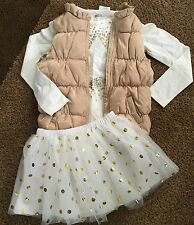 Gymboree/Crazy 8 Cream/Gold Vest, Tee SIZE 10/12 & Dot Tutu Size 8 HOLIDAY NWT!