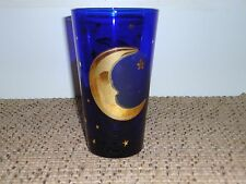 CULVER COBALT BLUE MOON AND STARS TALL GLASS TUMBLER