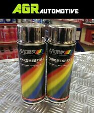2 x Chrome Spray Paint Motip 400ml - apply to Wood Metal Glass Aluminium Stone