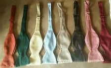 WOW! Solid Green Vintage Shantung 100% Import Silk Adjustable  Bow Tie NEW