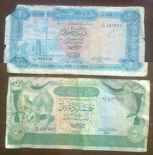 LIBYA: 2 old banknotes. 1 Dinar (mosque) & 5 Dinars (camels). Worn Condition.