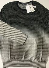 NWT VINCE Men's BLACK/GREY/WHITE CASHMERE/COTTON STRIPED/POLKA DOT SWEATER LARGE