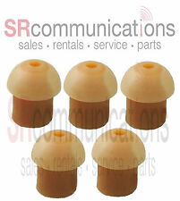 QTY 5 Replacement Tan Rubber Eartips For Motorola HYT Kenwood Vertex Headsets
