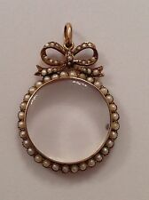 Attractive Fine 9ct Gold & Seed Pearl Set Circular Glazed Locket