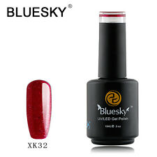 Bluesky Soak Off UV LED Gel Nail Polish Red Raspberry Glitter X32