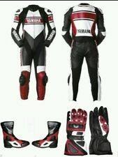 YAMAHA MOTORBIKE/MOTORCYCLE RACING LEATHER  SUIT SHOES & GLOVES. FULL PROTECTION