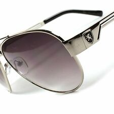 Air Force Style Sporty Casual TrendyGradient Lens Mens Womens Silver Sunglasses
