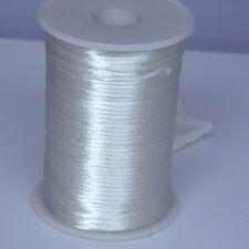 White 2mm Rattail Satin Cord Macrame Beading Nylon kumihimo String DIY 10yds