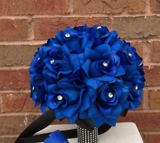 Bridal bouquet: Royal Blue Artificial Rose Bouquet with Rhinestone -Black Handle