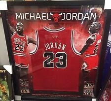 MICHAEL JORDAN HAND SIGNED FRAMED CHICAGO BULLS RED JERSEY BACKDROP CERTIFICATE