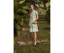 Tory Burch Dress 14 Emmy Mosaic Print Shirtdress  $295 XL Blue Green NWT