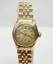 Very Rare Ladies 18k Gold Rolex Bubbleback Watch with Orig Chronometer Papers