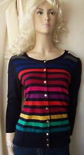 Hobbs black pink red etc stripe silk cotton cashmere cardigan 3/4 sleeve size 14