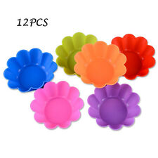 12pcs Silicone Cake Muffin Chocolate Cupcake Liner Baking Cup Cookie Mold Flower