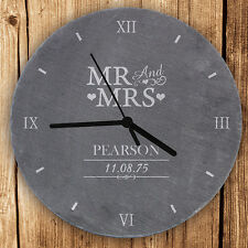 Personalised MR and & MRS Slate Clock For Wedding Gift New Home Anniversary Gift