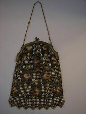 Vintage Art Deco Whiting & Davis Flapper Metal Mesh Enamel Purse