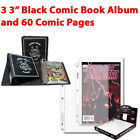 "(3) BCW 3"" Black Collector Album Binder & (60) PRO Comic Book Pages"