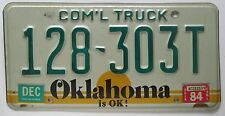 Oklahoma 1984 COMMERCIAL TRUCK License Plate HIGH QUALITY # 128-303T
