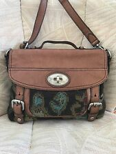 FOSSIL Maddox Chestnut Leather & Tapestry Crossbody Messenger ~Long Live Vintage