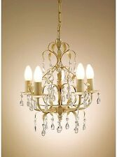 Gold Chandelier French Crystal Ceiling Shade Light Fitting Vintage Pendant Lamp