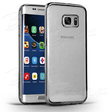 For Samsung Various Phones - Chrome Clear Gel Case Cover Back + Screen Protector