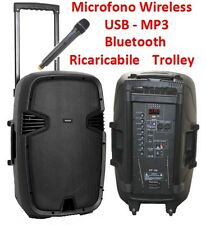 "CASSA AMPLIFICATA ATTIVA 15"" trolley ricaricabile WIRELESS BLUETOOTH FM USB SD"