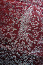 Red Mountain Waterfall Pagoda Omeshi Vintage Japanese Kimono Silk Fabric 62""