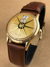Benrus Dial-O-Rama Jump Hour 1950s Vintage 10K Gold Watch - Clean