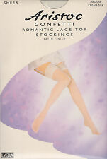 ARISTOC CONFETTI ROMANTIC LACE TOP STOCKINGS - MEDIUM - CREAM SILK - (BRAND NEW)