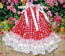 Valentines Day Baby Girl 12M/18M Red, Pink, Hearts Circles Dots Pillowcase Dress