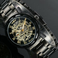 WINNER Skeleton Golden Roman Numerals Stainless Steel Watch New