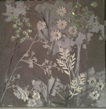 Grey/white Hand Painted embellished Floral/twigs and leaves