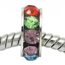 Multi-Color Rhinestone Spacer Silver Tone Bead for European Style Charm Bracelet