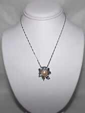Necklace REAL Freshwater Pearl Flower Pink Approximately 17 Inch,Chain