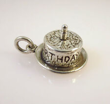 .925 Sterling Silver 3-D HAPPY BIRTHDAY CAKE W 1 CANDLE CHARM NEW 925 BD03