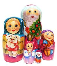 From Santa 5-piece Russian Nesting Doll Children Christmas Presents Snowman Kids